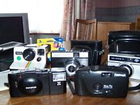 Various cameras and cases