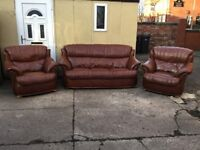 Leather 3 piece suite TAN / BROWN REAL LEATHER CAN DELIVER