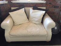 CREAM LEATHER 2 SEAT SOFA & SINGLE BED FOOTSTOOL