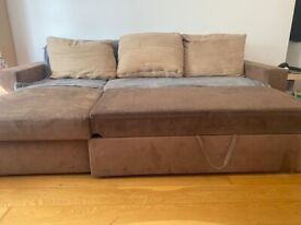 Sofa bed with storage and 3 matching cushions