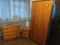 Pine Wardrobe, Chest of Drawers and Bed Side Cabinet