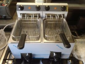 ITALIAN TWIN TANK NEW FRYER 3 PHASE CATERING COMMERCIAL FAST FOOD RESTAURANT KITCHEN BBQ SHOP