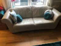 Three seater cream leather sofa from a pet free home