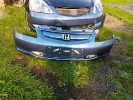 Honda civic front bumper and foglights