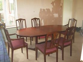 Dining Table And 6 Chairs Cherry Wood