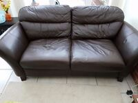 NEXT real leather brown 2 and 3 seater sofa