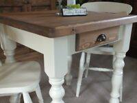 Pine Farmhouse Shabby Chic Country Rustic Style Kitchen Table and Two Chairs