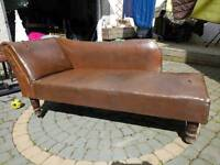 Antique brown leather chaise lounge cheap for very quick sale