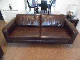 Brown Leather John Lewis 4 Seater Sofa