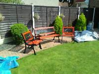 Reduced cast iron an wood bench set