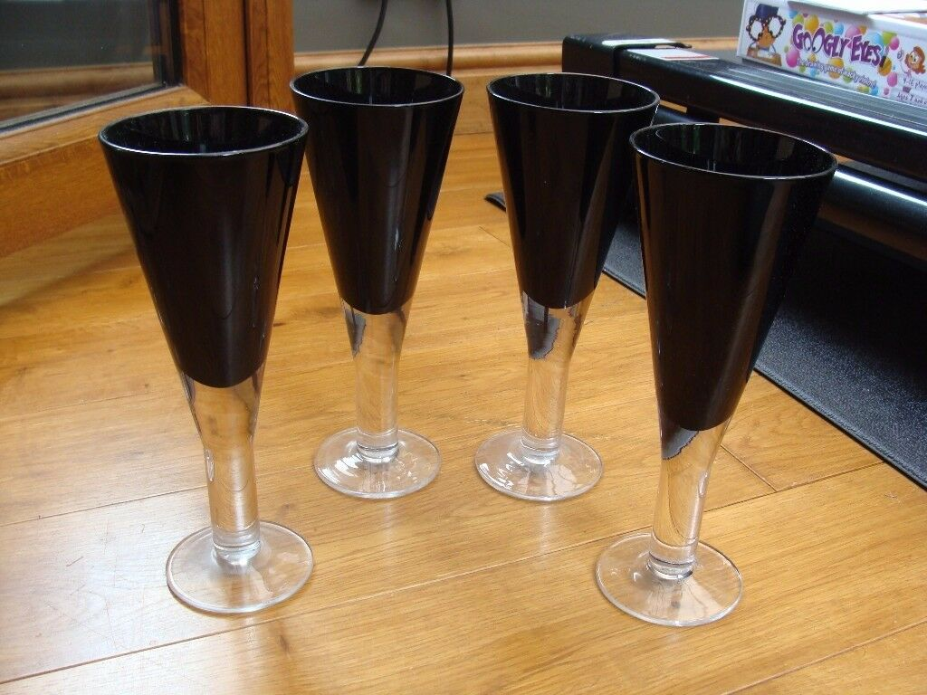 4 Black Fluted Glasses Christmas - also selling 4 Smoke Glasses separately