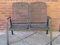 Dark Grey/Gun Patio Metal Garden Bench 2 seater No cushions