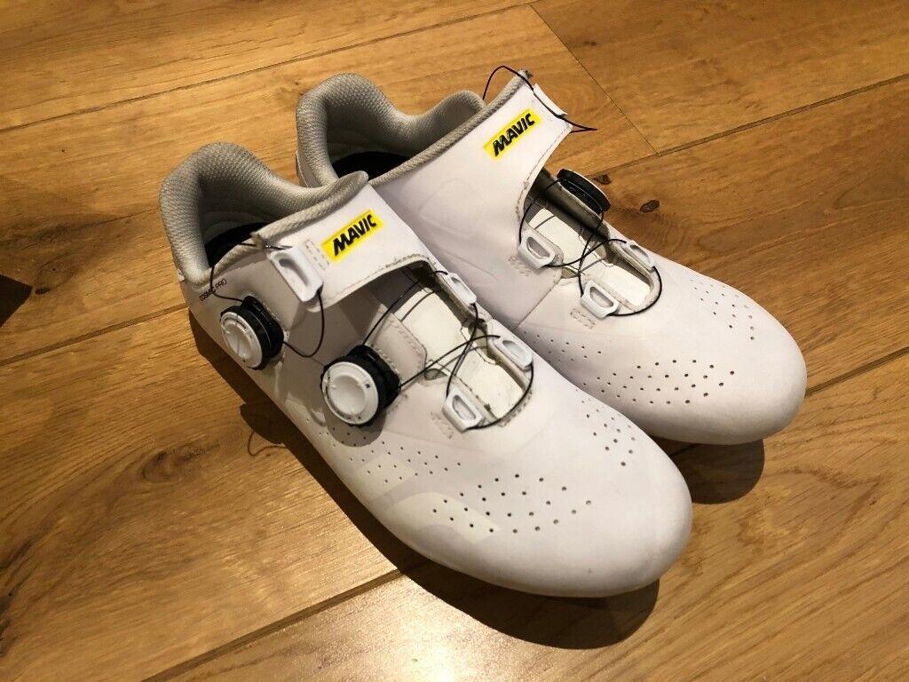 9395e64594bd90 Mavic Cosmic Pro white/black road cycling shoes, with box, shoe UK 8.5,  carbon, race