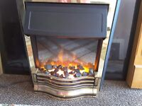 Electric Fire, black granite backing, wood mantle surround