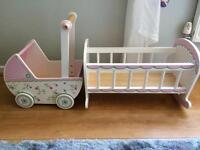 Children's wooden cot and buggie