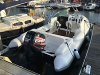 RIB BOAT CABIN RIB EVINRUDE 225 ON TRAILER