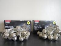 Indoor battery operated 20 warm white metal ball LED lights – New (2 set)