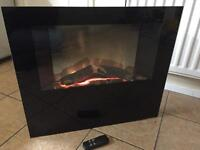 Wall mountable electric fire with remote control
