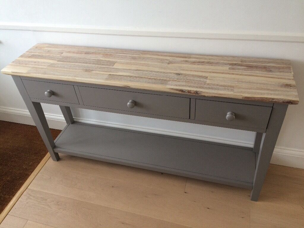 brand new console hall table dove grey with wooden top in st albans hertfordshire gumtree. Black Bedroom Furniture Sets. Home Design Ideas