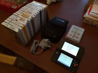 Nintendo 3DS second generation console with 18 games, carry case, charger & two extendable styluses