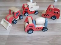 PLAY AND GROW 4 X WOODEN CONSTRUCTION VEHICLES TOYS