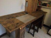 Solid Wood Antique Farm Dining Table Vintage Industrial Design Worktop Standing Desk