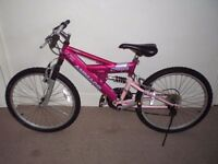 """Girls Full/Dual Suspension Ammaco Paris 15"""" frame (24"""" tyres) Mountain Bike (will deliver)"""