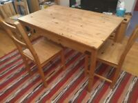 Dining table with 2 chairs for free