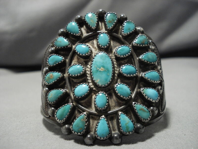 MUSEUM VINTAGE NAVAJO GREEN TURQUOISE STERLING SILVER BRACELET OLD ROYSTON