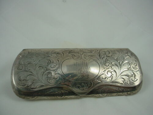 GORGEOUS c1900 ART NOUVEAU ETCHED STERLING SILVER EYE GLASSES SPECTACLES CASE
