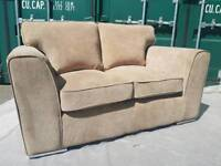 NEW Latte Beige 2 Seater Sofa on Chrome Feet DELIVERY AVAILABLE