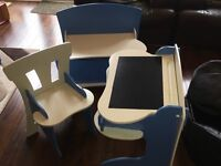 Children's desk, chair & end of bed cupboard