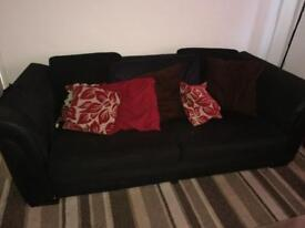 Fabric and leather sofa