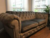 Grey velvet chesterfield 3 seater sofa, 6 months old