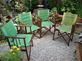 Four,Quality,Varnished Hardwood,Directors Chairs.