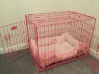 """Dog Crate 30"""" pink with fleece bed"""