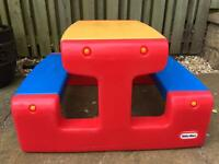 Little tikes primary colours picnic bench/ children's table