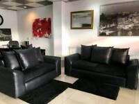 Ex Display Black Leather and Fabric 3+2 Sofa