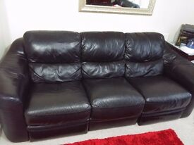 3+2 Black Leather Sofa
