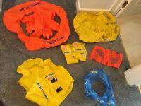 Various armbands, rings, seats and life jackets