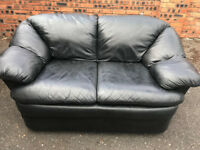 Leather two seater sofa, couch, settee (free local delivery)