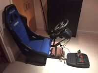 PS3 / PC Game Racer Gaming Chair and Logitech G27 steering wheel, three-pedals and gearbox