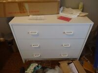 White 3x drawer chest of drawers