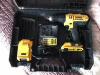 Tool 18v Dewalt combi drill with 2 x 2ah batteries case and charger