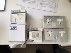 7 Brand new brushed stainless steel plate switches - various