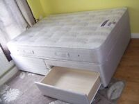 CAN DELIVER - SLEEPMASTER DOUBLE DIVAN BED WITH 2 DRAWERS IN GREAT CONDITION COST £599 6 MONTHS AGO