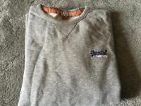 Superdry men's fleece jumper round neck grey colour size XL used good condition £4