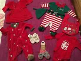 0-3 month Christmas girls outfit bundle