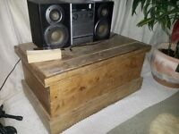 Hand-crafted wooden trunk