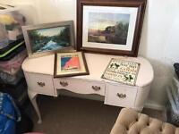 Vintage desk, stool and picture bundle
